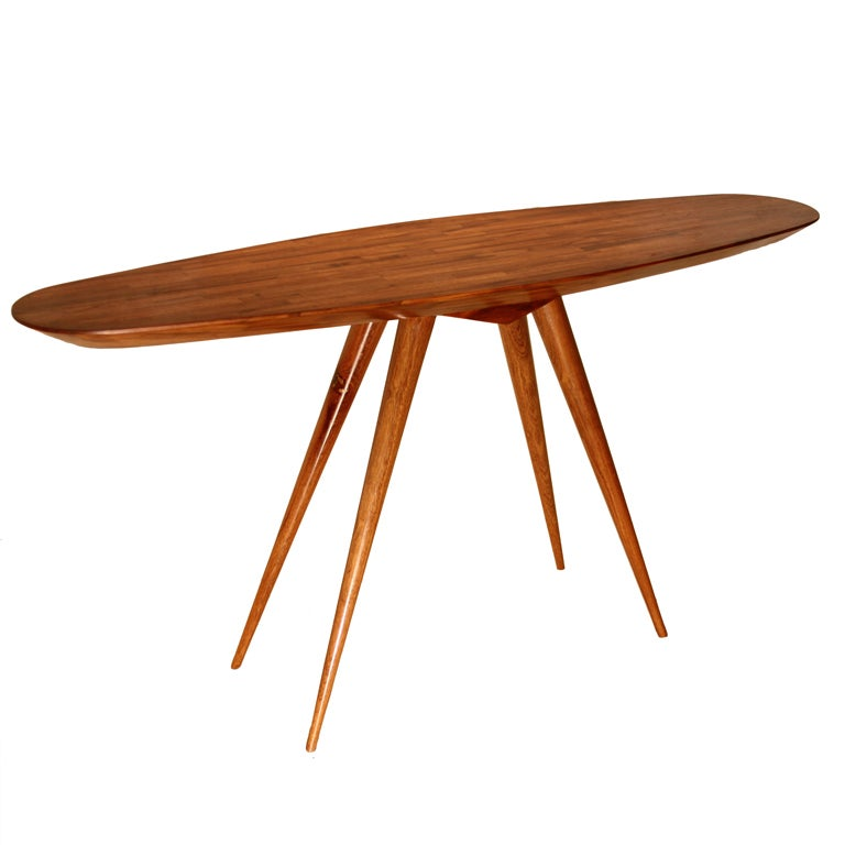 """Live Edge Solid Slab Of Tamboril Coffee Table By Tunico T: Teka """"Pé Palito"""" Console Table By Tunico T. At 1stdibs"""