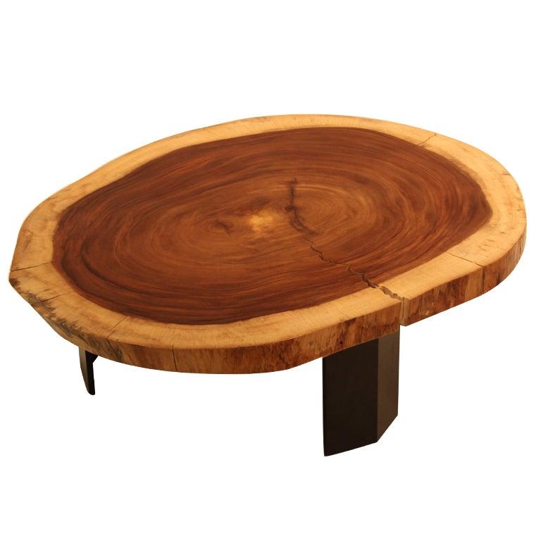 Custom Brass Coffee Table: Custom Caro Caro Coffee Table And Angular Metal Base By