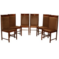 Six High Back Rustic Modern Rosewood and Bronze Dining Chairs by Celina Moveis