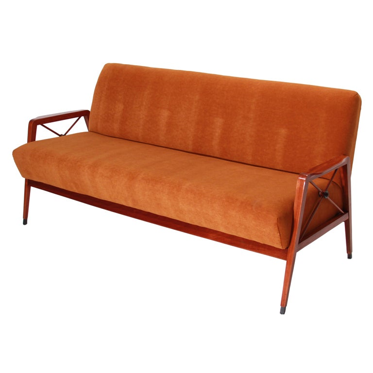 Tangerine Mohair and Exotic Wood Sofa by Cavallaro For Sale