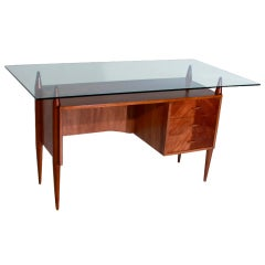 Caviuna Desk by Giuseppi Scapinelli with Floating Glass Top