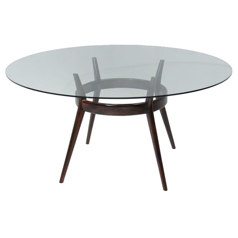 Round Glass Solid Rosewood Sculptural Dining Table At 1stdibs