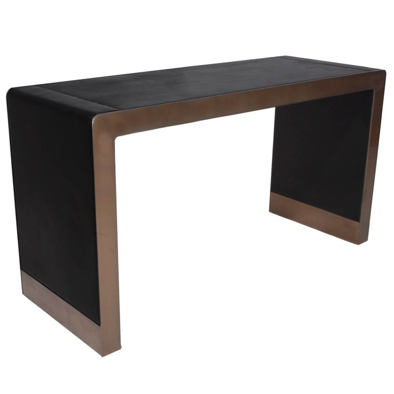 Inset Leather And Bronzed Chrome Desk Or Console Table At