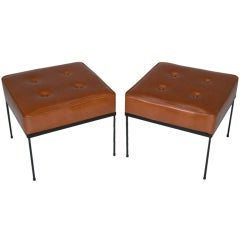 Pair of Paul MCCobb caramel leather ottomans or square stools