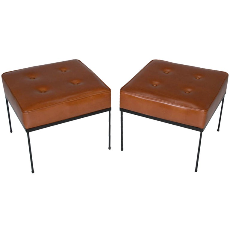 Pair Of Paul Mccobb Caramel Leather Ottomans Or Square