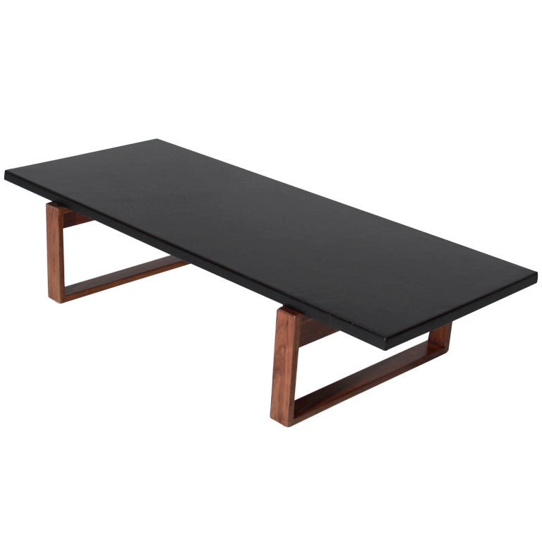 Rectangular leather wrapped coffee table with solid walnut base for sale at 1stdibs Square leather coffee table
