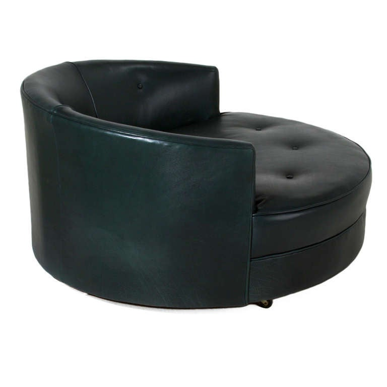 Large Round Green Leather Swivel Love Chair By Milo Baughman Image 4