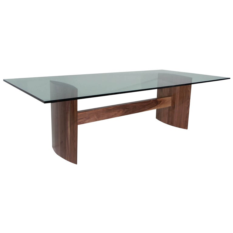 Thomas hayes studio stacked laminate walnut dining table for Large glass table top