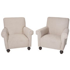 pair of brazilian linen club chairs armchairs with dark carved twotone feet - Arm Chairs