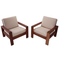 Solid Teak Danish Linen Armchairs Attributed to HW Klein