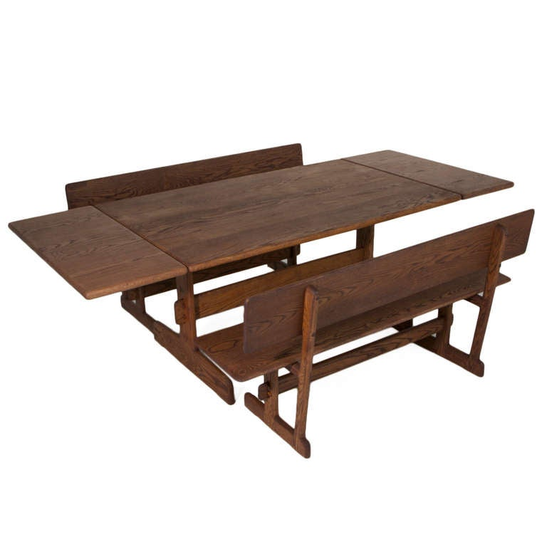 Merveilleux American Custom Gerald McCabe Trestle Dining Table And Benches For Orange  Crate Modern For Sale