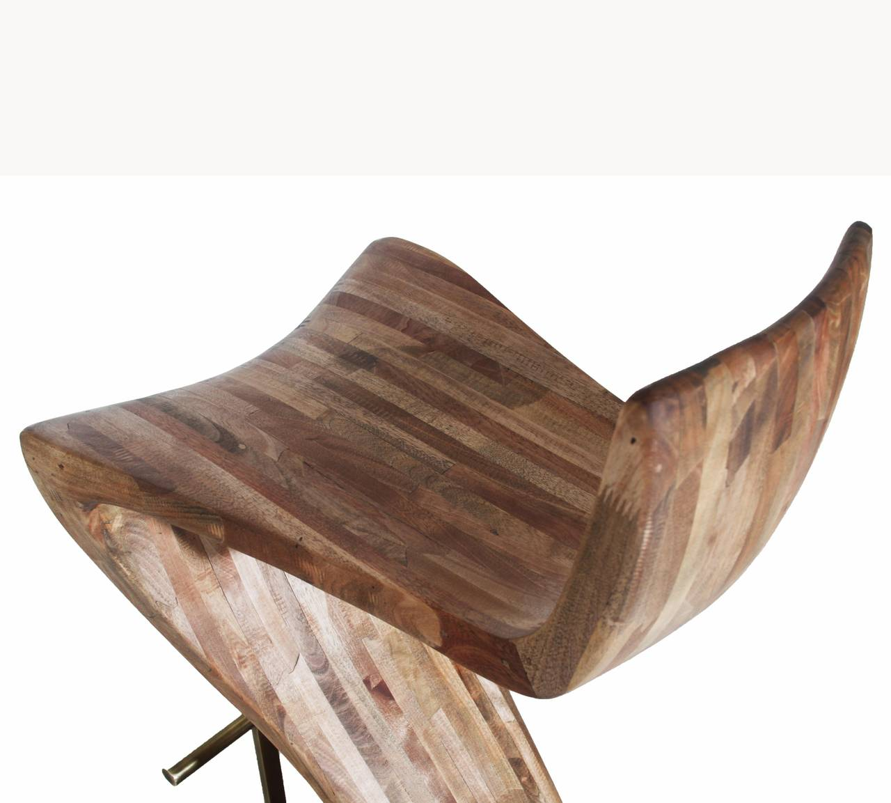 Very Impressive portraiture of Pair of Sculptural Wood Bar Stools with Solid Brass Foot Rests at  with #8A5941 color and 1280x1153 pixels