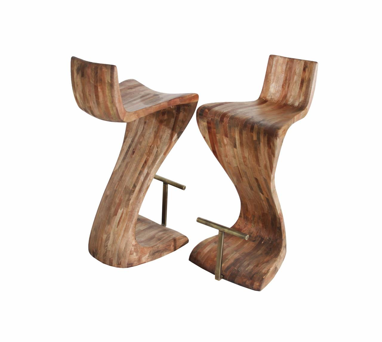Pair Of Sculptural Wood Bar Stools With Solid Brass Foot