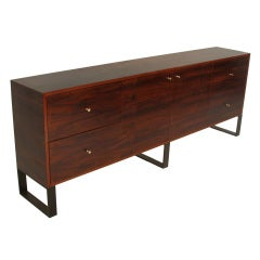 Custom rich minimal Imbuia credenza by Thomas Hayes Studio