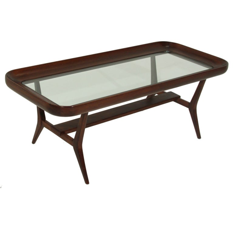 Narrow Rectangular Brass And Marble Coffee Table By Edward: Sculptural Glass Coffee Table By Guiseppi Scapinelli For