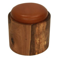 Stew Wood and leather cushion stool by Tunico T.
