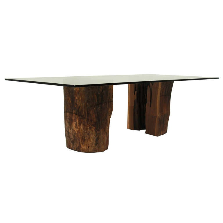Ipe Trunk Pedestal Dining Table With Glass Top By Tunico T At 1stdibs