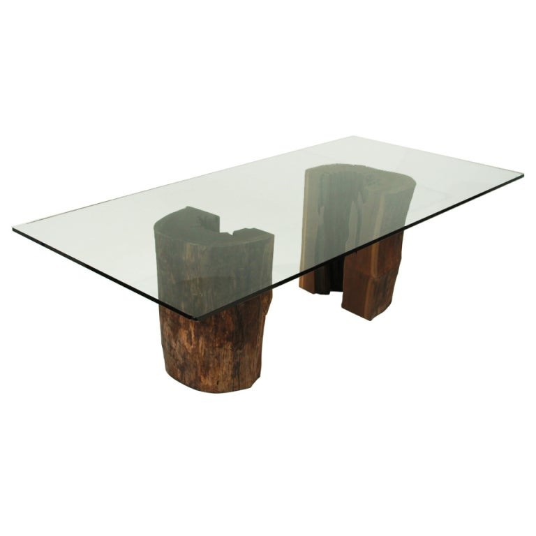 Ipe trunk pedestal dining table with glass top by Tunico T. at 1stdibs