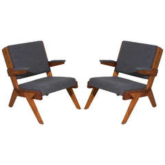 Pair of Solid Peroba de Rosa Armchairs