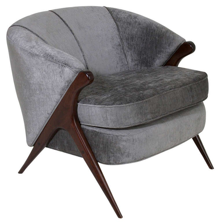 Sculptural Italian Gray Silk Velvet Armchair For Sale
