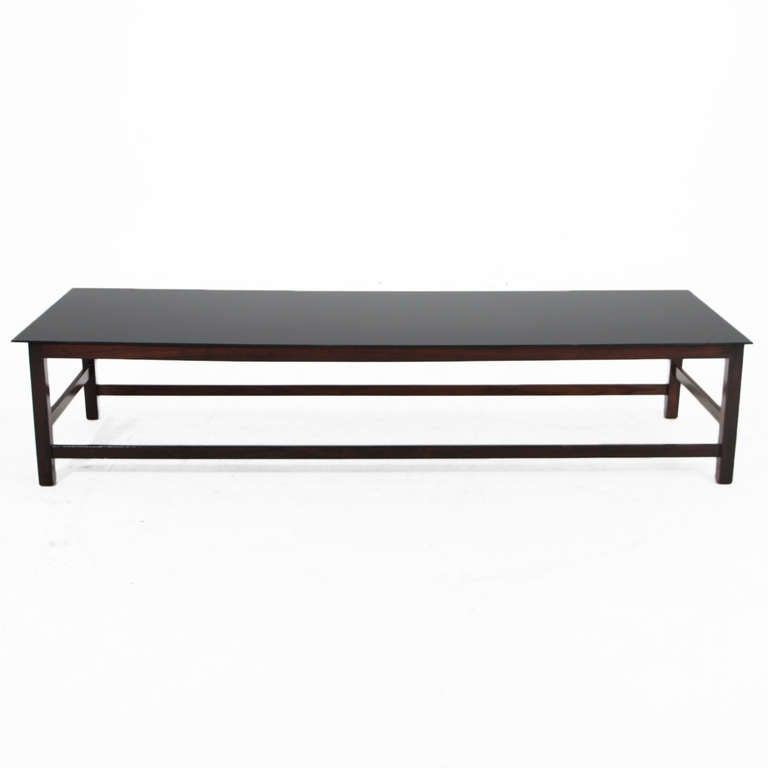 Solid Brazilian Rosewood And Black Glass Coffee Table For