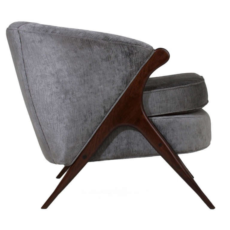 Walnut Sculptural Italian Gray Silk Velvet Armchair For Sale