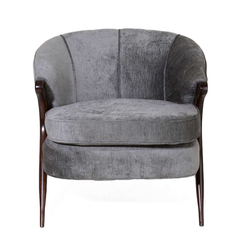 American Sculptural Italian Gray Silk Velvet Armchair For Sale