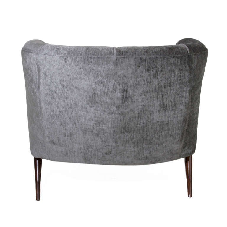 Mid-20th Century Sculptural Italian Gray Silk Velvet Armchair For Sale