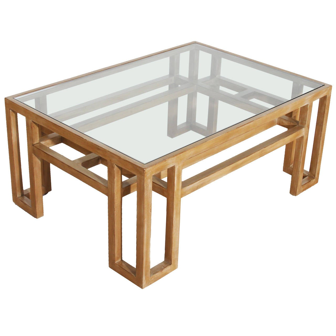 Vintage wood coffee table with glass top for sale at 1stdibs for Vintage coffee table