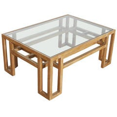 Vintage Wood Coffee Table with Glass Top