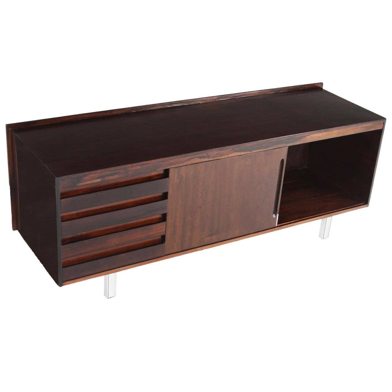 Rosewood Credenza with Chrome Legs from Brazil