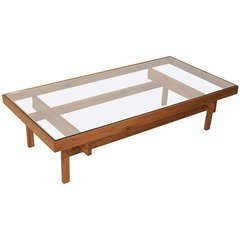 Solid Peroba Wood & Glass Coffee Table From Brazil