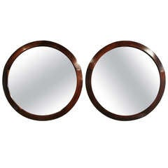Round Brazilian Rosewood mirrors, priced individually