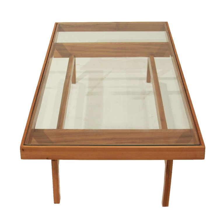 Solid peroba wood and glass coffee table from brazil at for Wood and glass cocktail tables