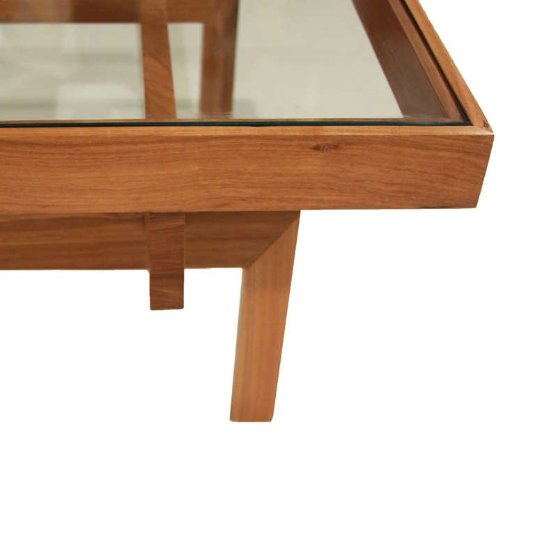 Solid Peroba Wood And Glass Coffee Table From Brazil At