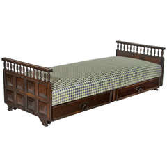 Solid Carved Rosewood Daybed with Houndstooth fabric