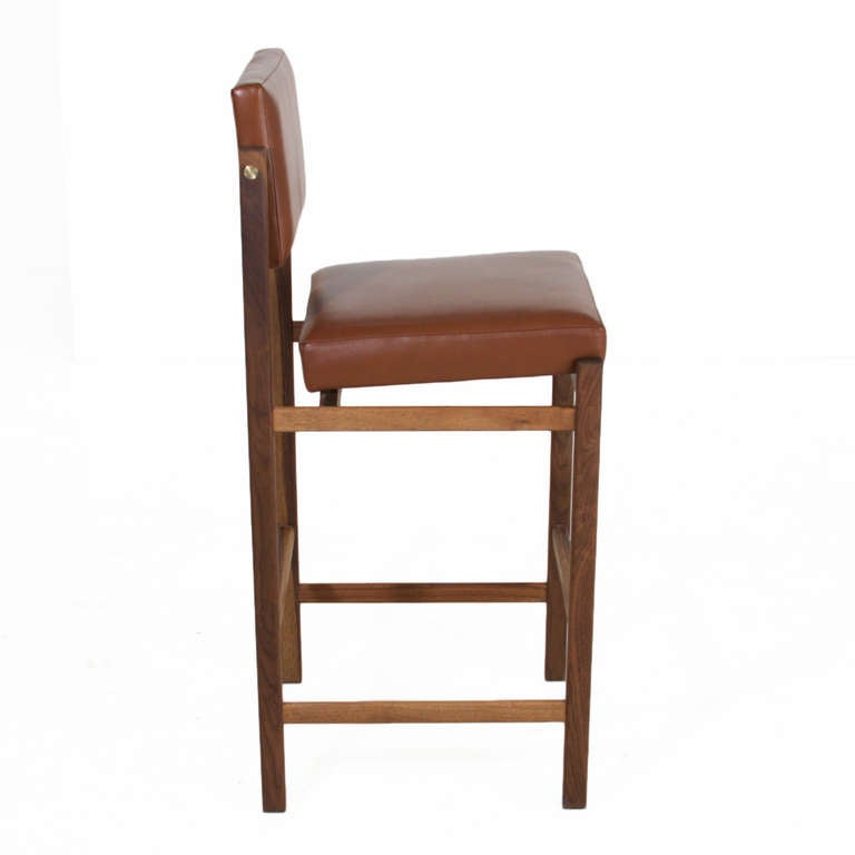 The Basic Pivot Back Bar Stool In Tobacco Leather By