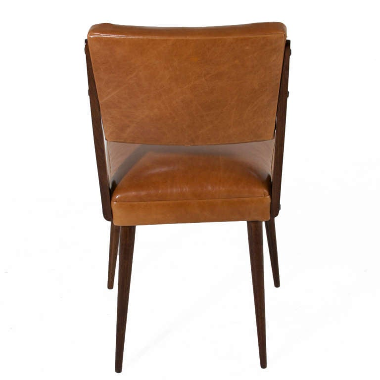 Set of six brazilian exotic wood dining chairs in the