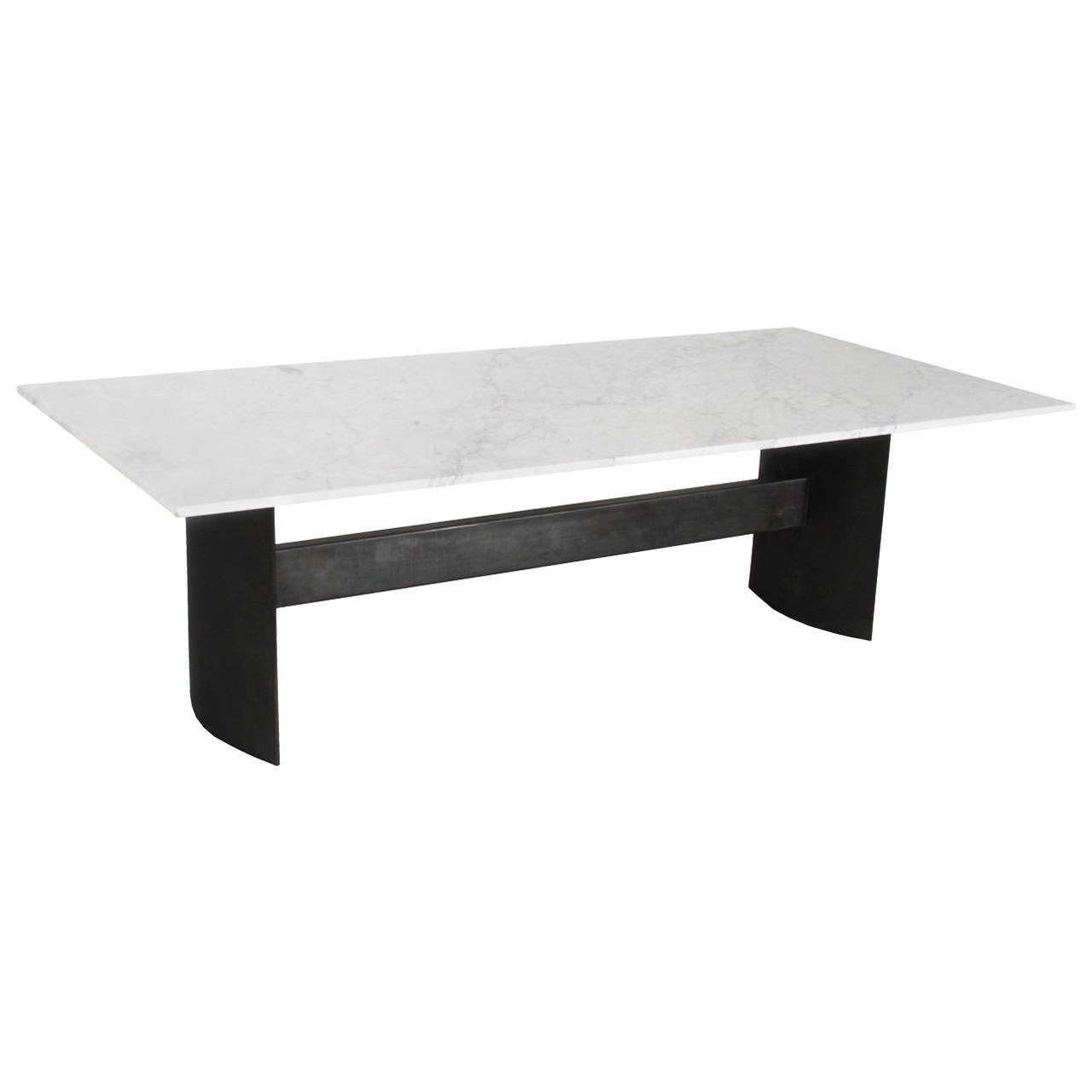Custom Gunmetal And Marble Dining Table By Thomas Hayes Studio At 1stdibs