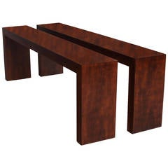 Minimalist Imbuia Console Tables from Brazil