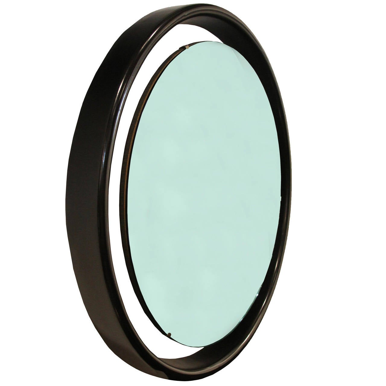 Floating round mirror with black frame for sale at 1stdibs for Round mirror