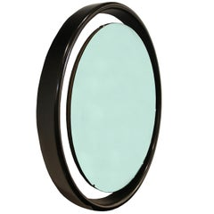 Floating Round Mirror with Black Frame