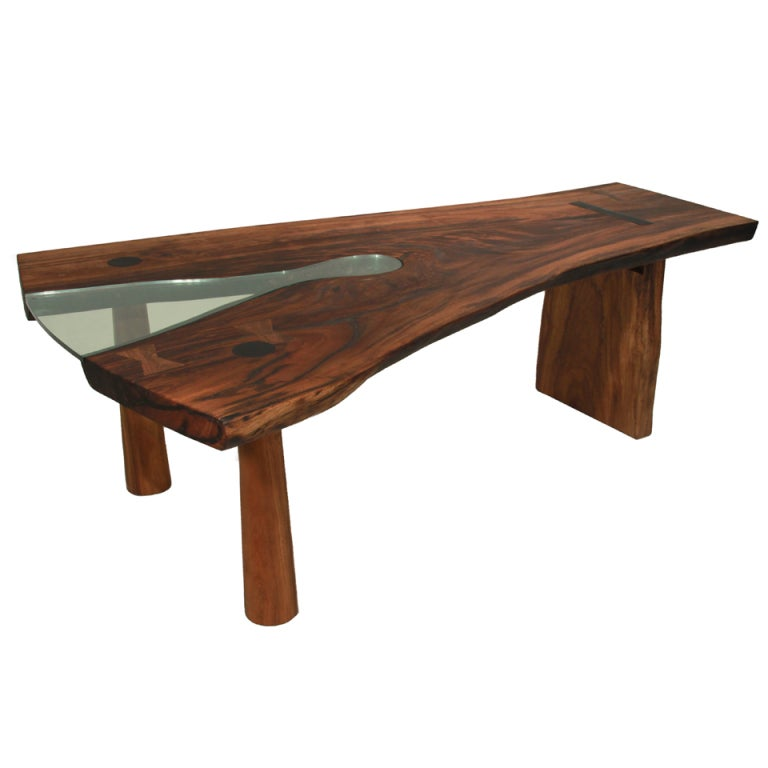 """Slab Dining Room Table: Solid Slab Tamboril """"Forquilha"""" Dining Table By Tunico T"""