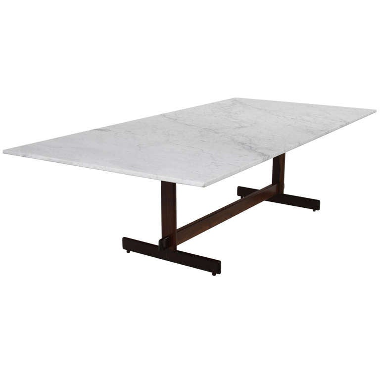 Very Elegant Marble Top Dining Table Brazilian Rosewood Dining Table with Carrara Marble Top by Celina Moveis  For Sale