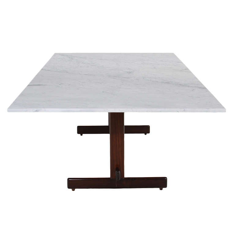 Brazilian Rosewood Dining Table with Carrara Marble Top by Celina Moveis In Good Condition For Sale In Hollywood, CA