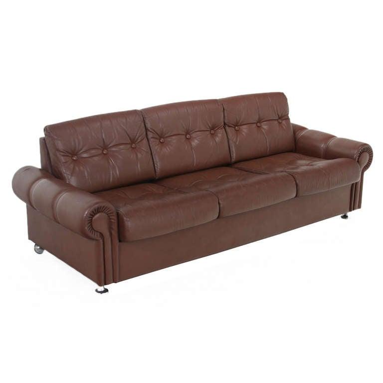 Vintage Swedish Distressed Leather Sofa At 1stdibs