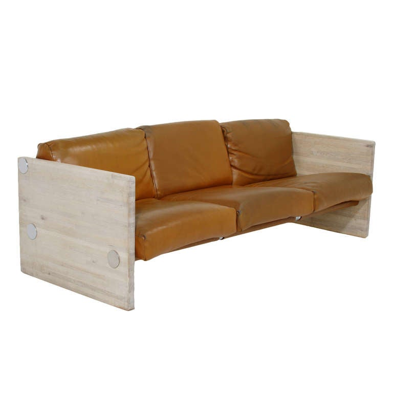 Orange Leather And Bleached Oak Sofa By Milo Baughman For Sale At 1stdibs