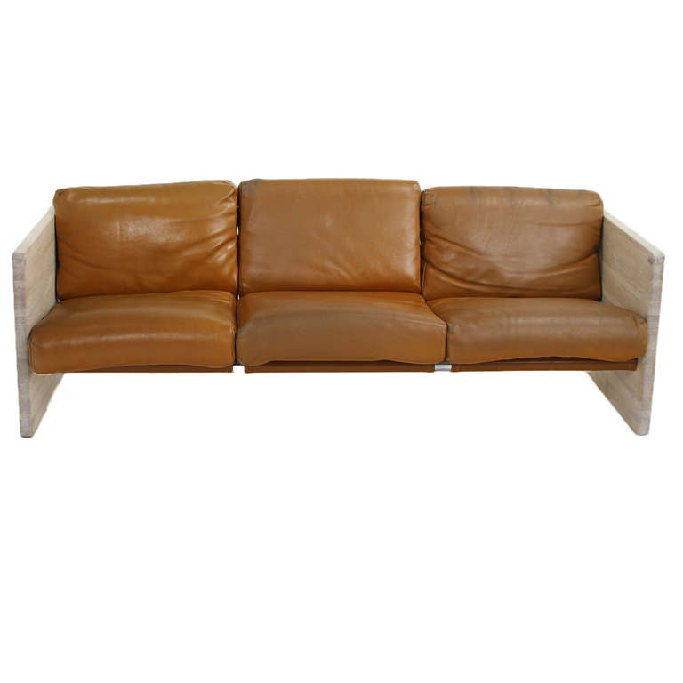 Orange Leather And Bleached Oak Sofa By Milo Baughman For