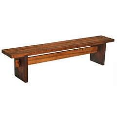 Lina Bo Bardi Slatted Wood Bench in Peroba and Brauna Woods