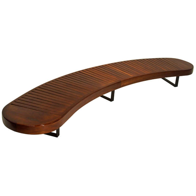 Carlo Hauner Curved Brazilian Hardwood Bench From Brazil At 1stdibs